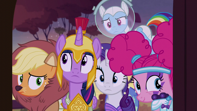 File:Main five peeking into Fluttershy's cottage S5E21.png