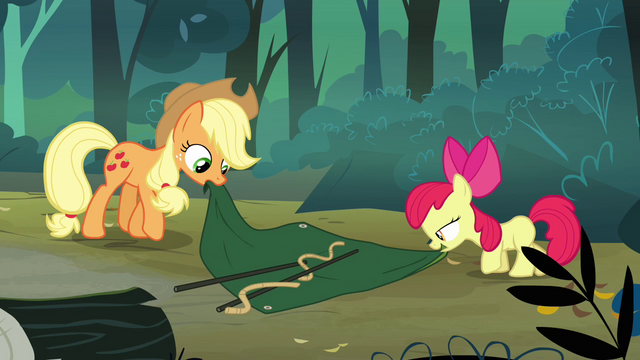File:Applejack and Apple Bloom setting up a tent S3E06.png
