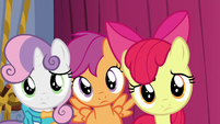 Cutie Mark Crusaders looking at Tender Taps S6E4