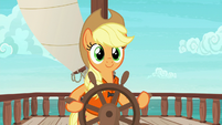 Applejack happily steering the ship S6E22