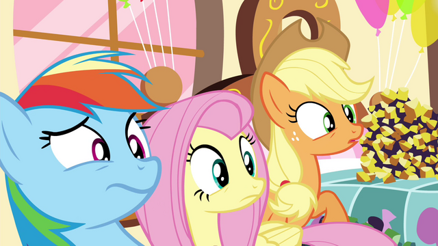 File:Rainbow, Fluttershy and AJ weirded out S4E18.png