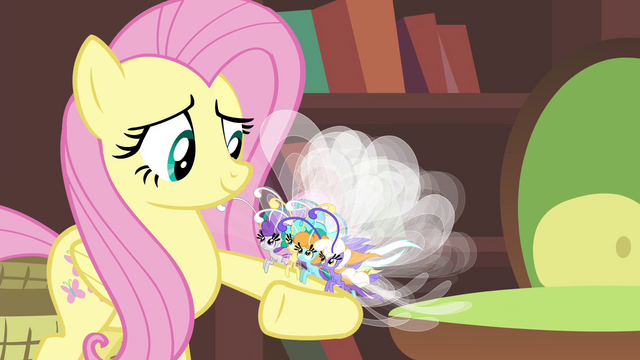 File:Breezies perched on Fluttershy's hoof S4E16.png