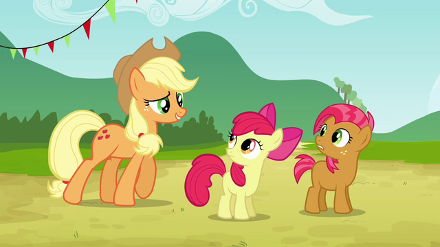 File:Apple Bloom and Babs sees Applejack S3E08.png