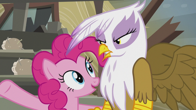 "File:Pinkie ""even the most grumpy griffon grin!"" S5E8.png"
