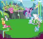 Rainbow waterfalls village