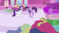 Rarity and Twilight Sparkle looking at measuring tape S2E03