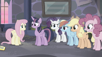 Mane 5 smiling at Fluttershy S5E02