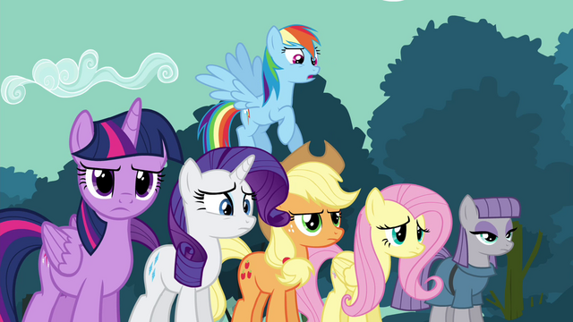 File:Rainbow Dash and friends confused S4E18.png