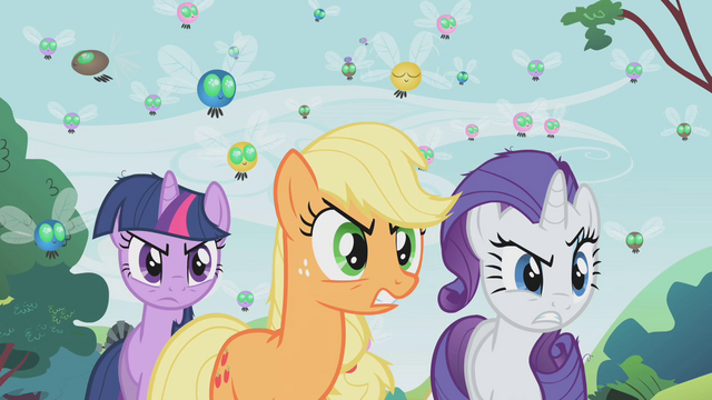 File:Rarity, Applejack and Twilight angry look S01E10.png