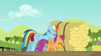 Rainbow and Scootaloo pushing hay bale S5E17