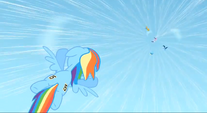 Rainbow flies down to save Rarity S1E16
