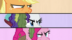 Splitscreen of AJ, Rarity, and Pinkie looking at each other S6E22.png