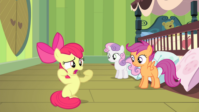 "File:Apple Bloom ""without Applejack hoverin' over me!"" S4E17.png"