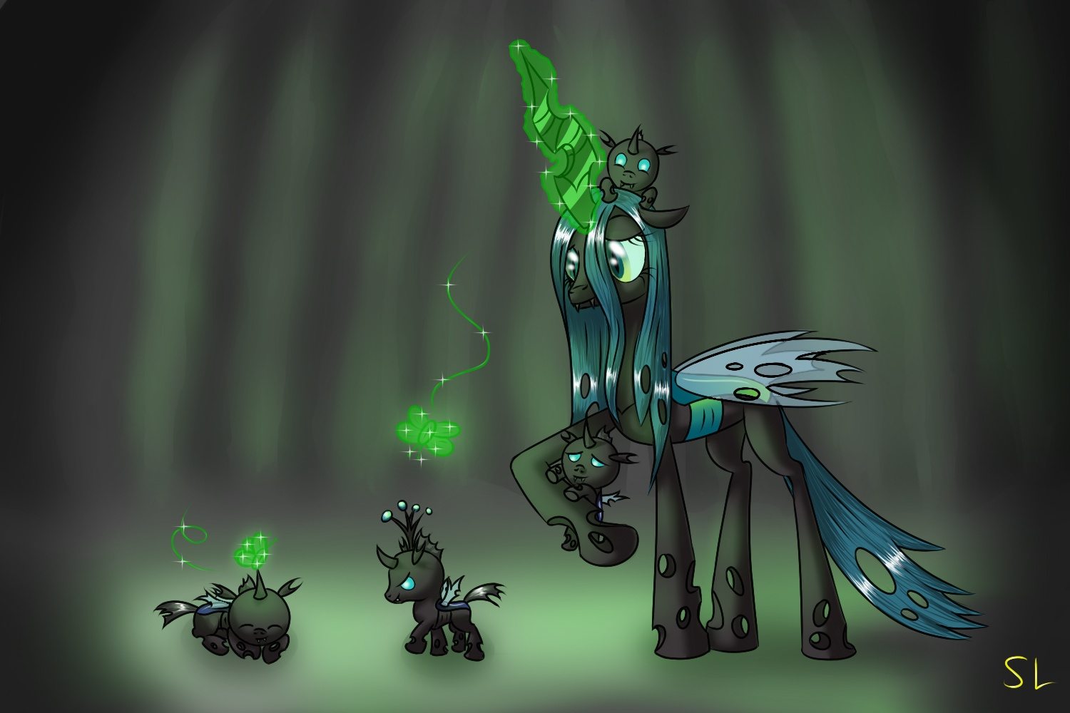 Image queen chrysalis and changeling wallpaper by artist for Queen chrysalis coloring pages