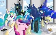 Princess Celestia, Princess Luna, Princess Cadence, Derpy Hooves and Queen Chrysalis having fun background wallpaper by artist-unnop64