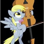 Derpy trying to play a cello