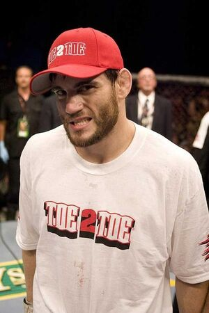 Jon Fitch with his characteristic look at the camera after a fight