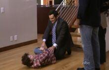 Luke slips down the stairs
