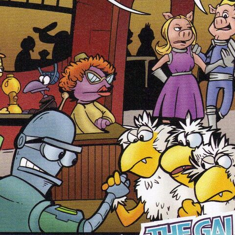 Tom, Dick, and Harry seen in the Futurama poster.