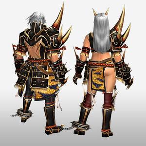 FrontierGen-Kishin Armor (Blademaster) and Doji Armor (Gunner) (Back) Render