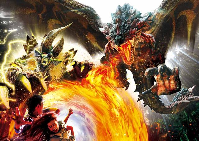 File:USJ-Dreadking Rathalos and Thunderlord Zinogre Artwork 001.jpg