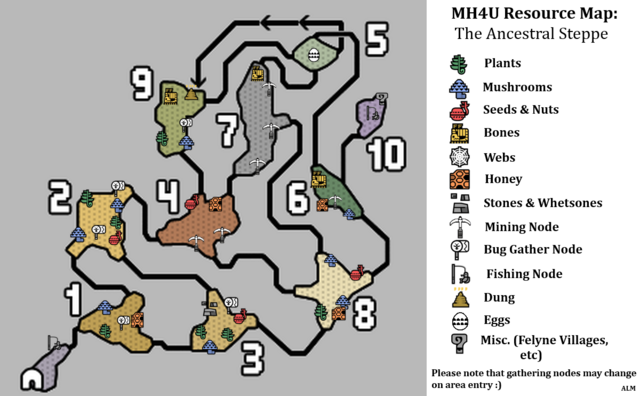File:MH4U-Ancestral Steppe Map with Legend .png