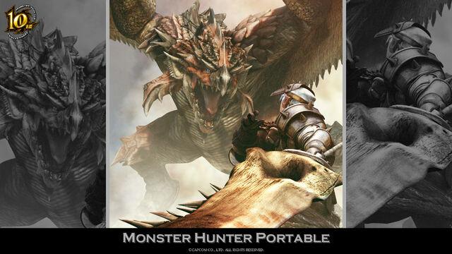 File:MH 10th Anniversary-Monster Hunter Freedom Wallpaper 001.jpg