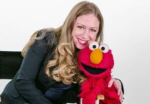 Chelsea Clinton and Elmo