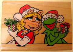Inkadinkado rubber stamp kermit piggy christmas