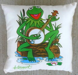 D & m 1979 satin throw pillow kermit1