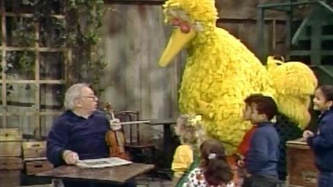 Isaac Stern with Big Bird on Sesame Street