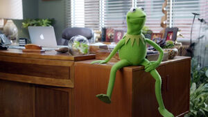 Kermit sitting on his desk