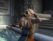 Perseus using the Helmet of Invisibility in God of War II