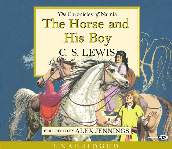File:The Cover of The Horse and His Boy showing Bree, the hourse, in the front with Hwin, Shasta and Aravis behind.jpg