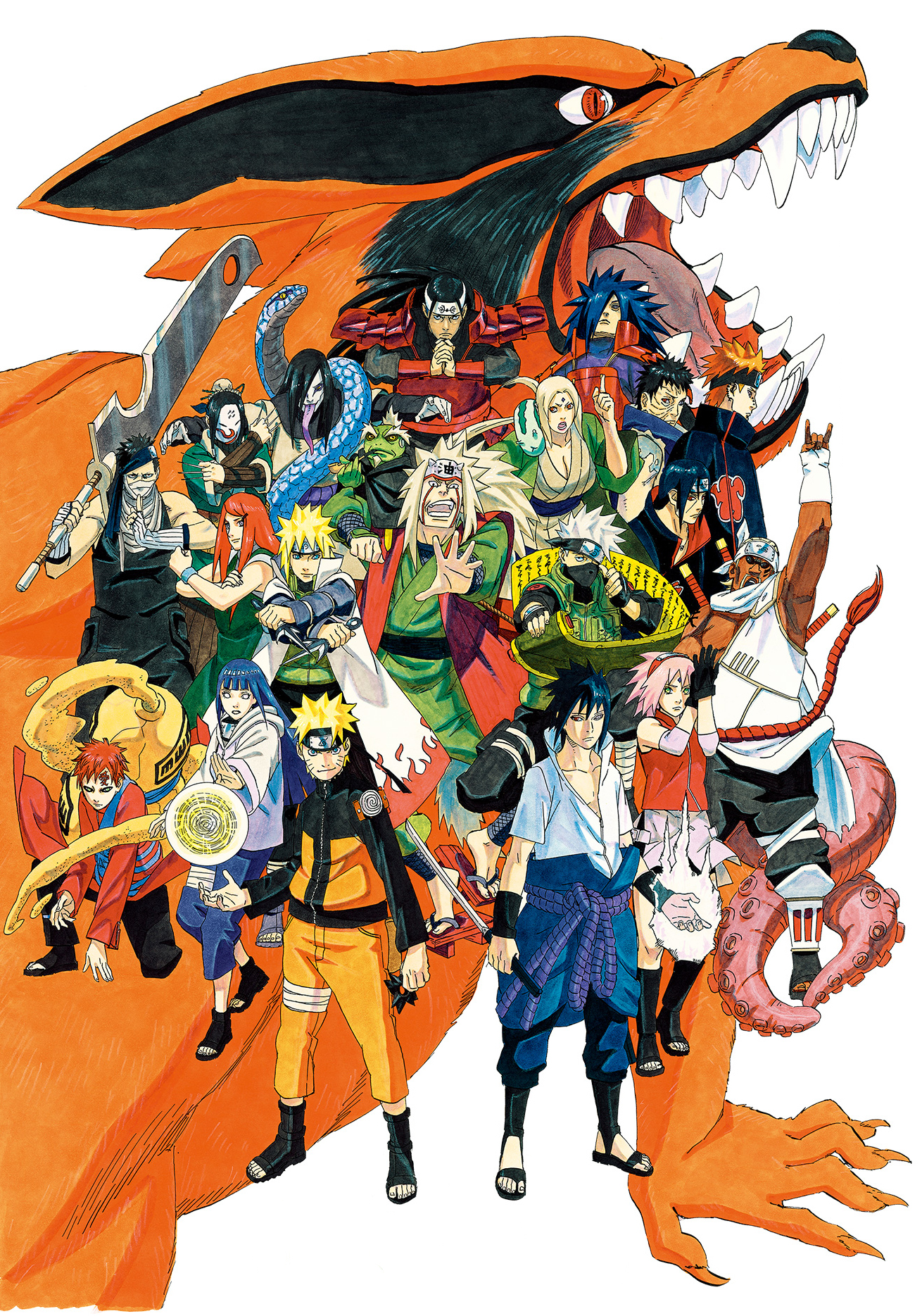An image of some of the wide variety of characters in the Naruto series