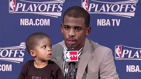 Chris Pauls Baby Son Disturbs Him During Press Conference