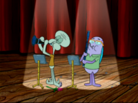 Squidward and Howard playing instruments