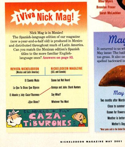File:Nickelodeon Magazine May 2001 Grampa Julie Shark Hunters spanish.jpg
