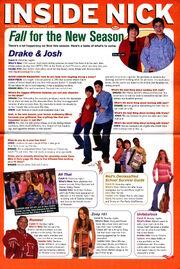 Nickelodeon Magazine Inside Nick September 2005 Drake and Josh