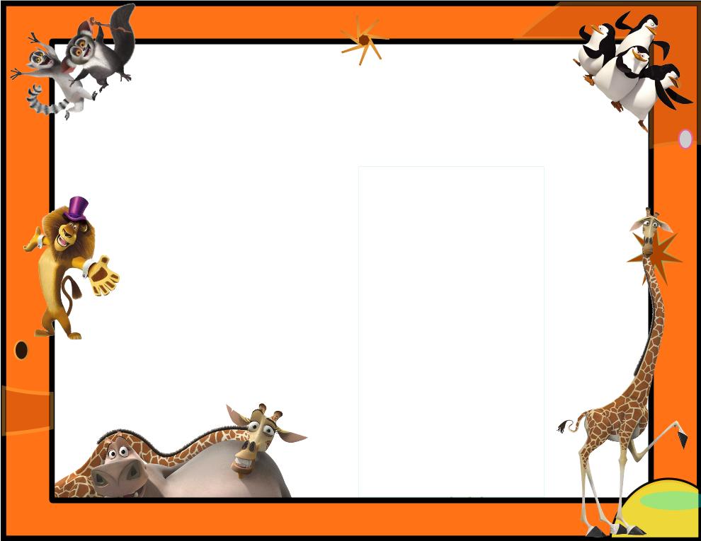 Imagen marco para decorar madagascar ping inos - Marcos para decorar ...
