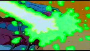 Cyber-Zilla hit by Zilla Junior's atomic fire.