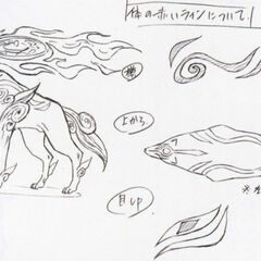 Design sketches of Amaterasu's final design.