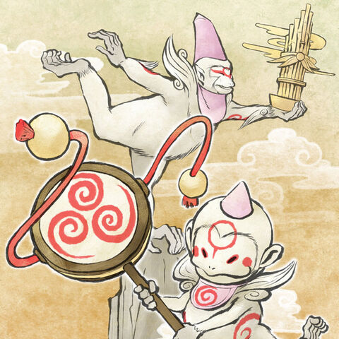 Sakigami and his child.