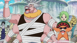 Hatchan, Keimi and Pappug Saying Goodbye to the Straw Hats.png
