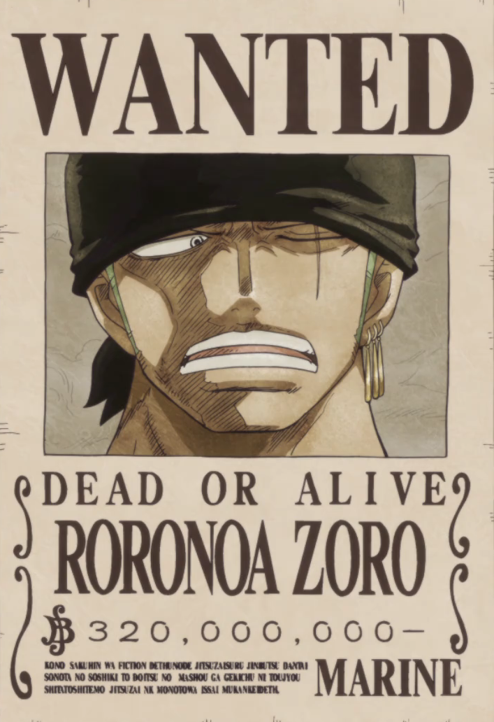 Image roronoa zoro 39 s current wanted one - One piece wanted poster ...