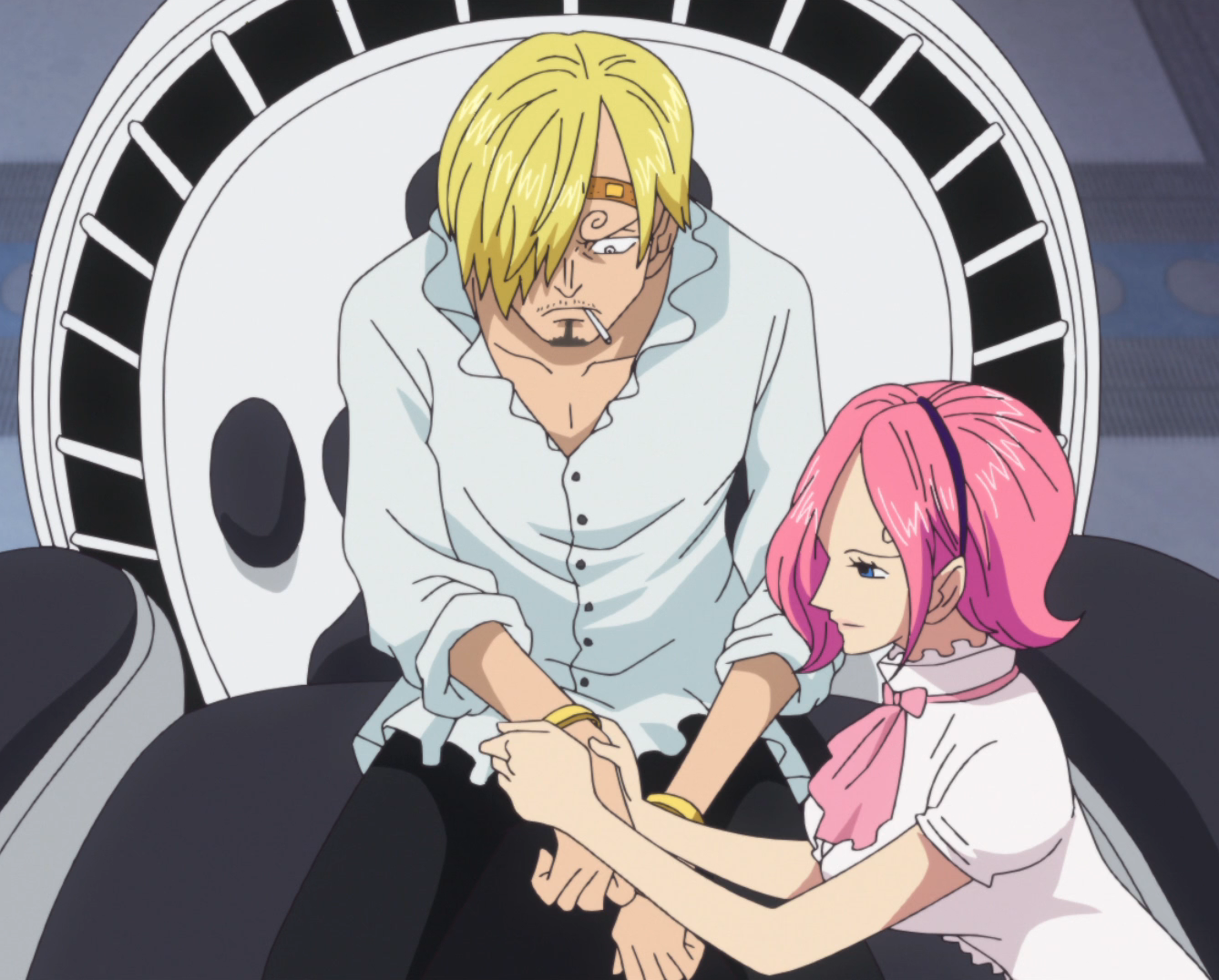 File:Reiju Puts Wristlets on Sanji.png