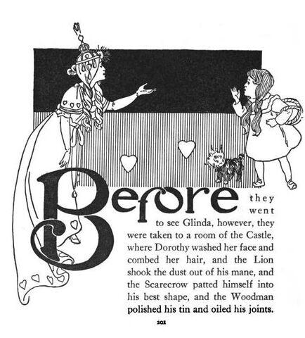 File:1900-Dorothy Chapter Start 4 w Glinda-William Wallace Denslow-Wonderful Wizard of Oz.jpg