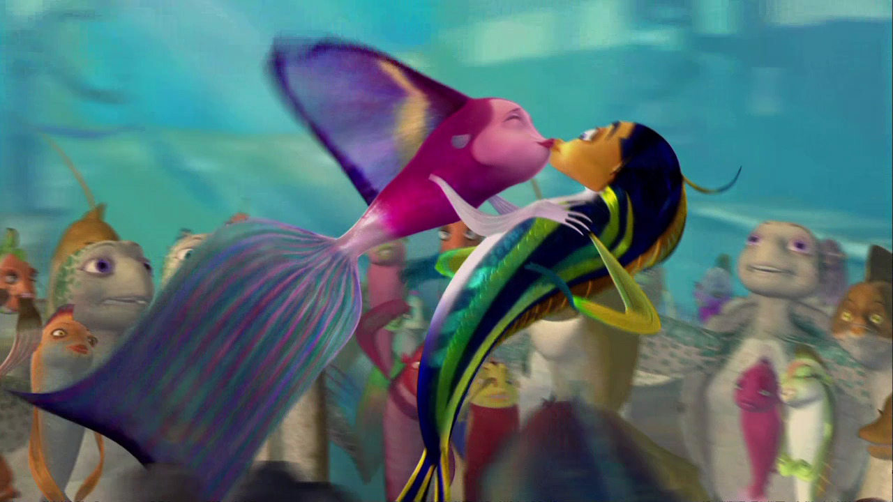 The gallery for shark tale oscar and lola kiss for Hot n hot fish club