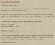 Pac-Man Monsters Closure Notice