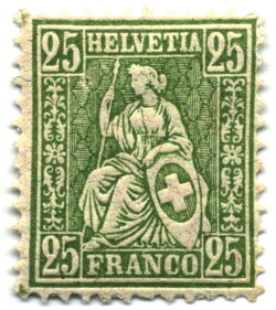 Stamp Switzerland 1881 25c